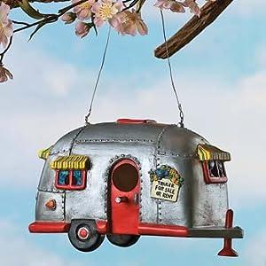 Camper Birdhouse Trailer Bird House Airstream style Rv Home Decor Yard Garden Porch Patio Birdfeeder