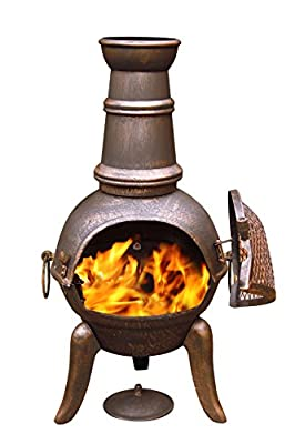 Gardeco 90cm Granada Cast Iron Chimenea Tall Bronze Effect Finish Steel Funnel by Gardeco