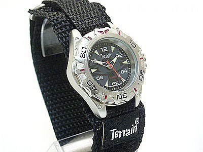 Boys/Teenagers Black Terrain Boardrider Sports Surf Watch-Velcro Strap+Rotating Bezel-50m Water Resitant-1303b