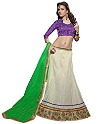 Suchi Fashion Cream, Purple and Green Embroidery Border Work Net Semi Stitched Lehenga