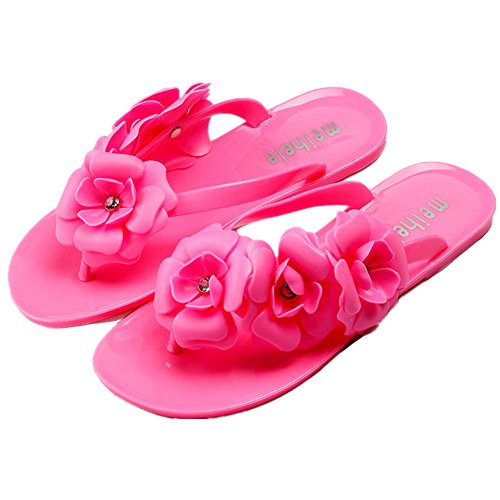 Camellia Women's Girl Garden Flip Flops Solid Jelly Jellybeans Sandals Shoes-rose-41 (Jelly Bean Sandals For Women compare prices)