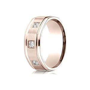 IceCarats Designer Jewelry 14K Rose Gold 8Mm Comfort-Fit Pave Set 3-Stone Diamond Ring (.24Ct) Size 14.5