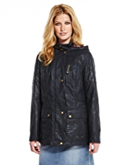 Indigo Collection Pure Cotton Hooded Waxed Parka