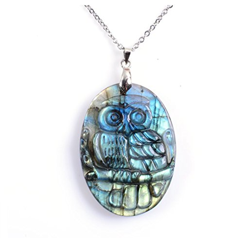 Amandastone Natural Labradorite Owl Pendants, Exquisite Carved,Reiki