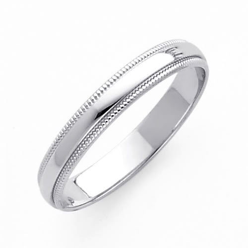 Wedding Rings For Women Discount 14K White Gold 3mm Plain Milgrain Wedding Band Ring For Men