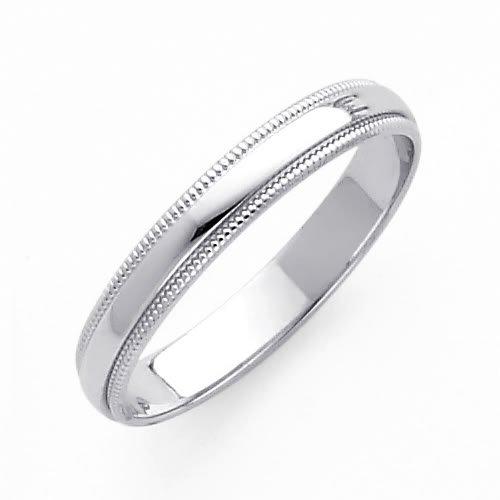 14K White Gold 3mm Plain Milgrain Wedding Band Ring for Men & Women (Size 4 to 12) - Size 9.5