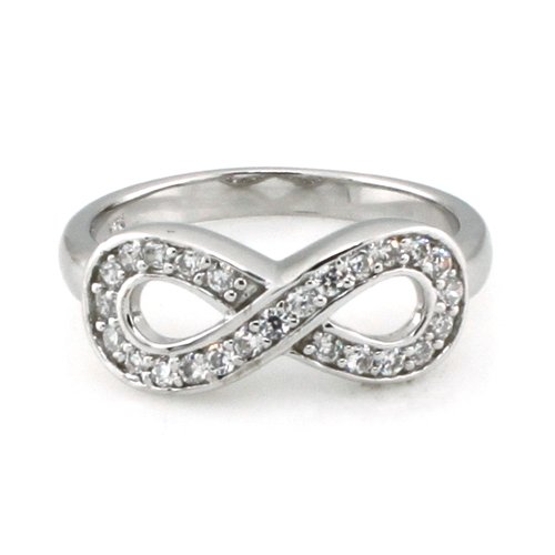 925 Sterling Silver Graduation Infinity Promise Ring w/ Cubic Zirconia (Size 10) Available Size: 4, 4.5, 5, 5.5, 6, 6.5, 7, 7.5, 8, 8.5, 9, 9.5, 10