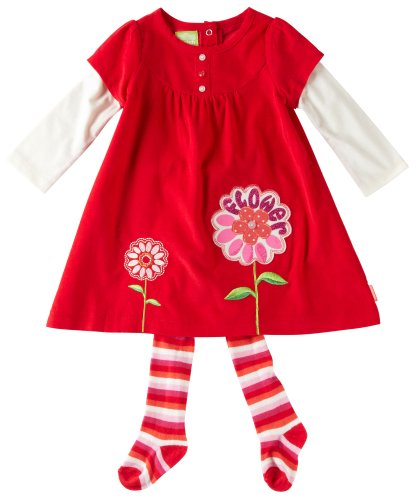 Watch Me Grow! by Sesame Street Baby-girls Newborn 2 Piece Flower Dress and Stripped Tights, Red, 3-6 Months