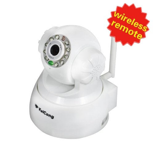 HD Wireless Network Camera KaiCong Sip1018 (White) Ip Camera Pan/Tilt/ Night Vision Built-in Microphone Remote Surveillance With BONUS Ethernet Cable Patch Cable or Warning Sticker