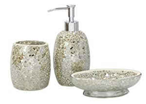 3pc Modern Mercury Sparkle Mosaic Glass Tile Bathroom Accessory Set Accessori