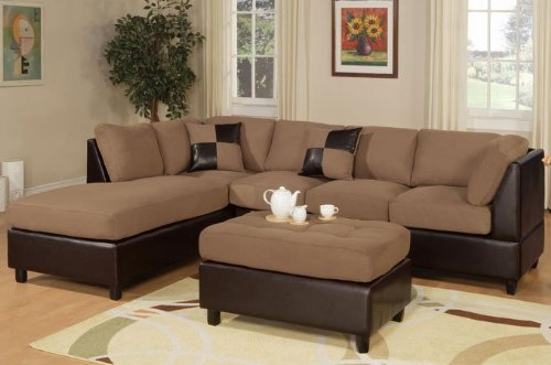 3pcs Sectional Sofa Set with Ottoman in Saddle Finish