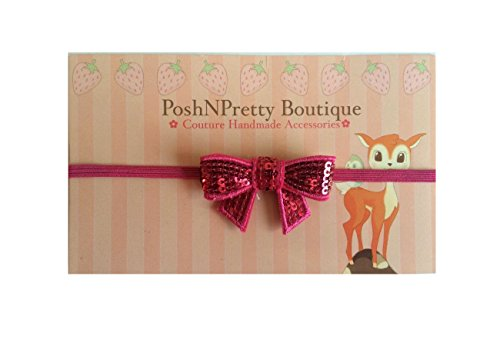 2 Inches Sequin Bling Bows Applique Baby Poshnpretty Headband - Hotpink