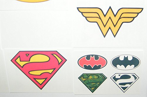Batman superman justice league dc superhero logo set of 10 for Superhero temporary tattoos