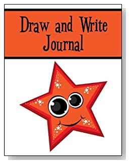 Draw and Write Journal For Kids - A cute smiling star with big eyes and twinkles makes a fun cover for this draw and write journal for younger kids.