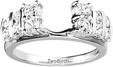 Silver Anniversary Ring Wrap Enhancer with White Sapphire 025 ct twt