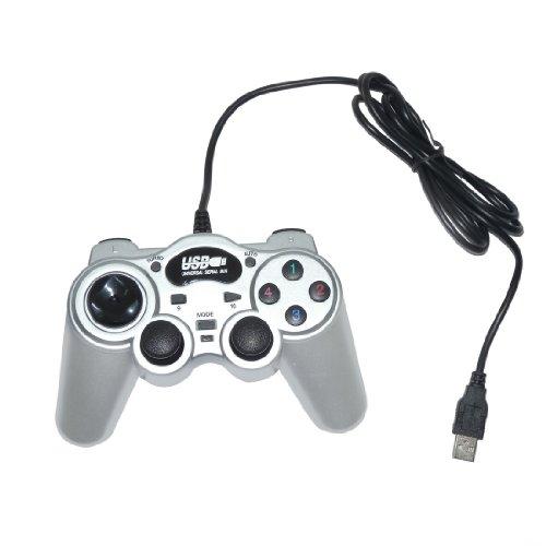USB Double Dual Shock Joypad Game & Computer Controller - Silver