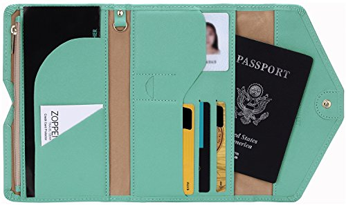 Zoppen Mulit-purpose Rfid Blocking Travel Passport Wallet (Ver.4) Trifold Document Organizer Holder, Baby Green (Passport And Boarding Pass Holder compare prices)