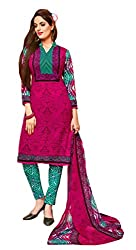 Nazaquat Pink Printed Crepe Unstitched Dress Material