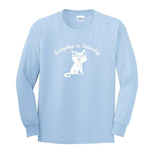 Every Day Is Caturday, Cat Humor Youth Long Sleeve T-Shirt Medium Light Blue