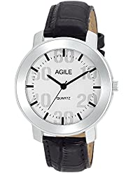 Agile Analog Silver Dial Black Leather Strap Wrist Watch For - Men, Boys - B01HNYUJOW