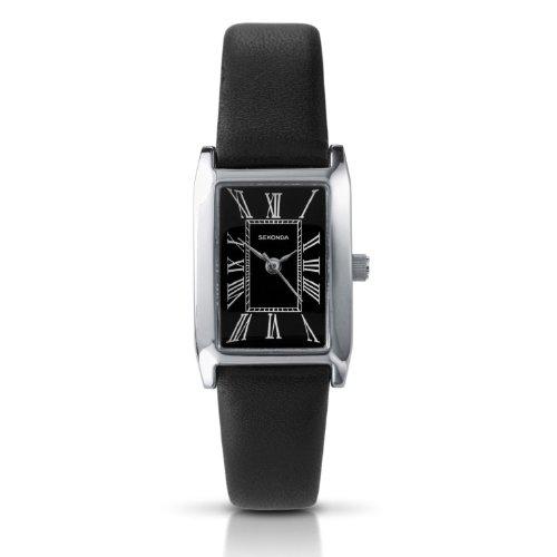 Sekonda Ladies Analogue Roman Numerals Black Leather Casual Strap Watch 4026