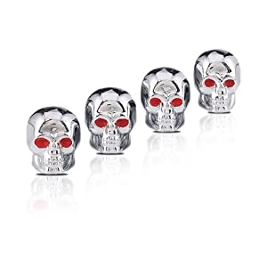 Set of 4 Skull Head Chrome Plated Valve Caps Auto Car