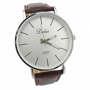 Youyoupifa Best Birthday Gift Fashion PU Leather Strap Quartz Wrist Watch (Brown)