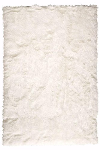 Faux Sheepskin Area Rug, 3-footx5-foot, WHITE