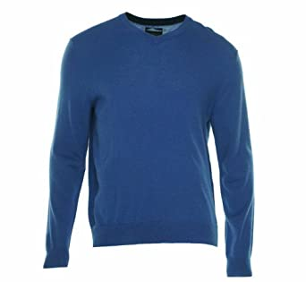 Men's Merino Wool Blend V-Neck Sweater (S, Bright Cobalt)