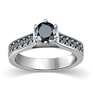 3/4 ct tw Black Round Diamond Cathedral Accent Diamond Engagement Ring 14K White Gold on Sterling