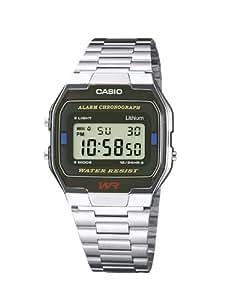 Casio - Vintage - A163WA-1QES - Montre Homme - Quartz Digital - Cadran Noir - Bracelet Acier Argent