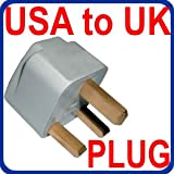 INTERNATIONAL USA TO UK BRITISH GROUNDED TRAVEL PLUG ADAPTER