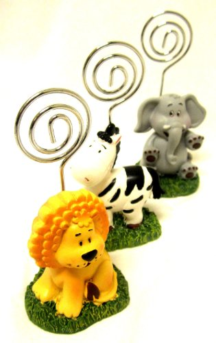 Safari Animals Place Card Holder Set Elephant Lion Zebra Favors Birthday Shower front-1039501