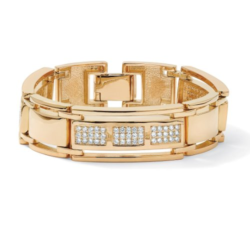 Men's 4.50 TCW Round Cubic Zirconia 14k Gold-Plated Bar-Link Bracelet 8 1/2