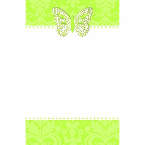 "Amscan Elegant Honeydew Printable Party Invitations with Add-On Butterfly, 8-1/2 x 5-1/2"", Green"