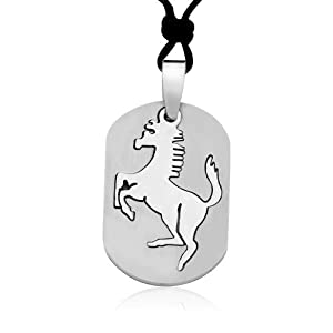 Ziovani 2-Part Cut-out Horse Chinese Zodiac Sign Tag Stainless Steel Pendant Necklace