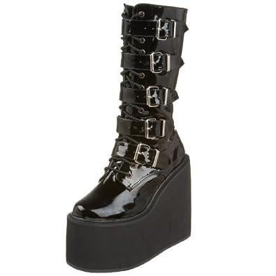 Demonia by Pleaser Women's Swing-220 5 Buckle Platform Boot,Black Patent,6 M US
