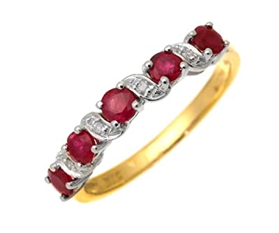 Ariel 9ct Yellow Gold Ruby And Diamond Eternity Ring