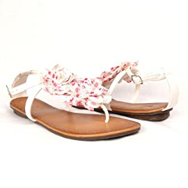 Women's Floral T-Strap Flat Thong Sandals White , 5.5-10