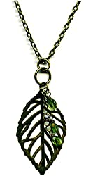 Trendy Brass Leaf with Peridot Gemstone Charms Pendant 24 Inch Necklace Handmade