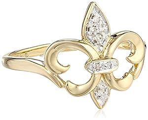 XPY 14k Yellow Gold Fleur-de-Lis Diamond Ring (.03 ct, I-J Color, I2 Clarity), Size 6