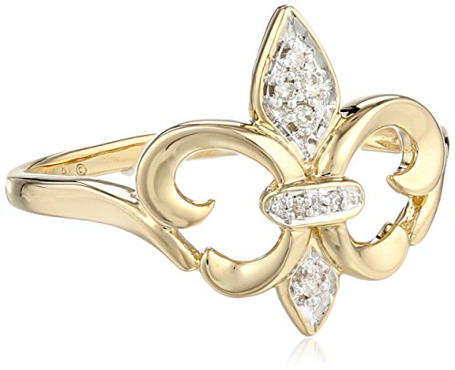 XPY 14k Yellow Gold Fleur-de-Lis Diamond Ring (.03 ct, I-J Color, I2 Clarity), Size 9