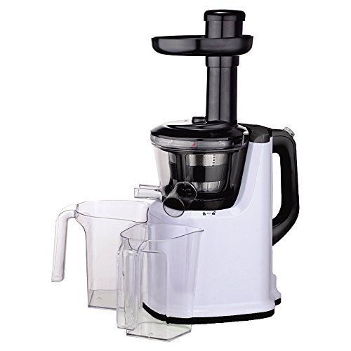 Obreko Masticating Slow Juicer Low Speed Of 65-85 Rpms 200-Watt Fruit And Vegetable Juice Extractor Vertical Single Auger Household Low Speed Juicer High Juice Extracting Rate With Two Spouts And Two Containers