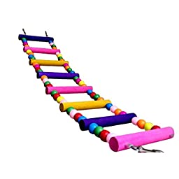 HuiSiFang® Parrot Colorful Wooden Ladder Love Bird Toy Cage Ornament 8 Rungs
