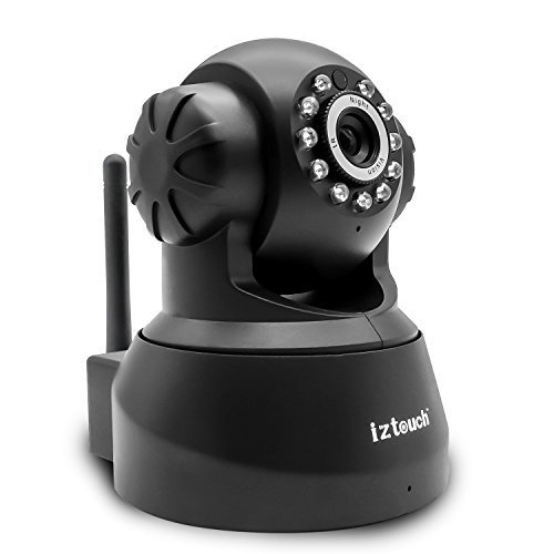 iZtouch IZSP-012 Black 1280x720P HD H.264 Wireless/Wired IP Camera with Two-Way Audio Night Vision Pan/Tilt Control QR Code Scan Phone remote monito