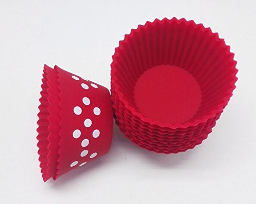 Maubi Creations 12 Pack Polka Dot Reusable Silicone Cupcake Baking Molds from Maubi Creations