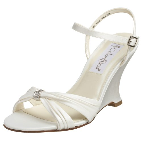 Coloriffics Women's Victoria Wedge Sandal,Ivory,9 M US