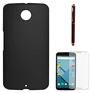 DMG Protective Hard Back Cover Case For Motorola Nexus 6 (Black) + Laser Torch Stylus Pen + Matte Screen