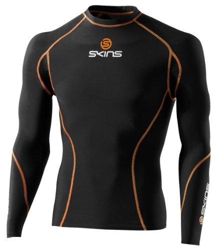 SKINS Long Sleeve Top Compression Clothing (Black/Orange), XS