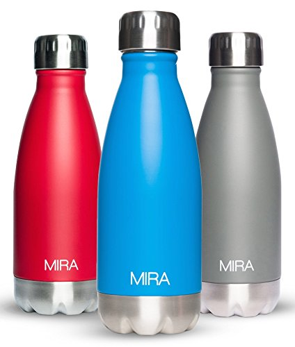 12 Oz (350 ml) Vacuum Insulated Water Bottle | Double Walled Stainless Steel Cola Shape Travel Water Bottle - BPA Free, Keeps Your Drink Hot & Cold | Blue | by MIRA (Water Bottle 12 Oz compare prices)